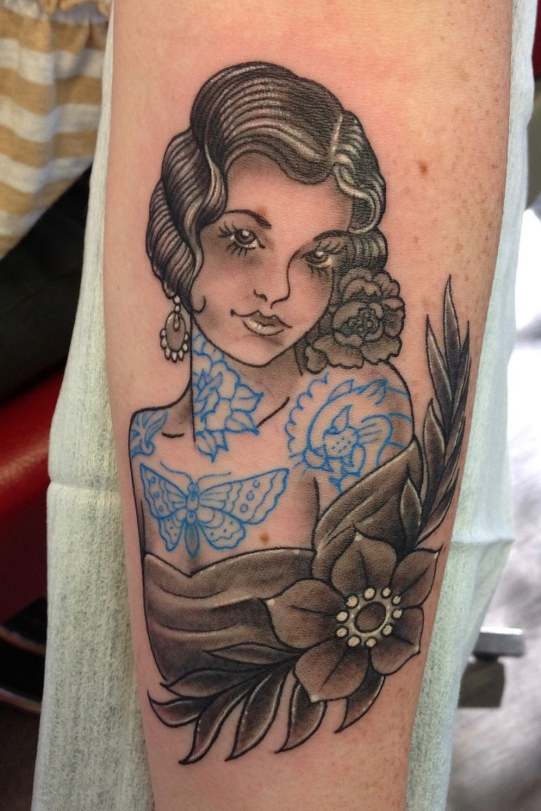 Old school blue tattoo girl