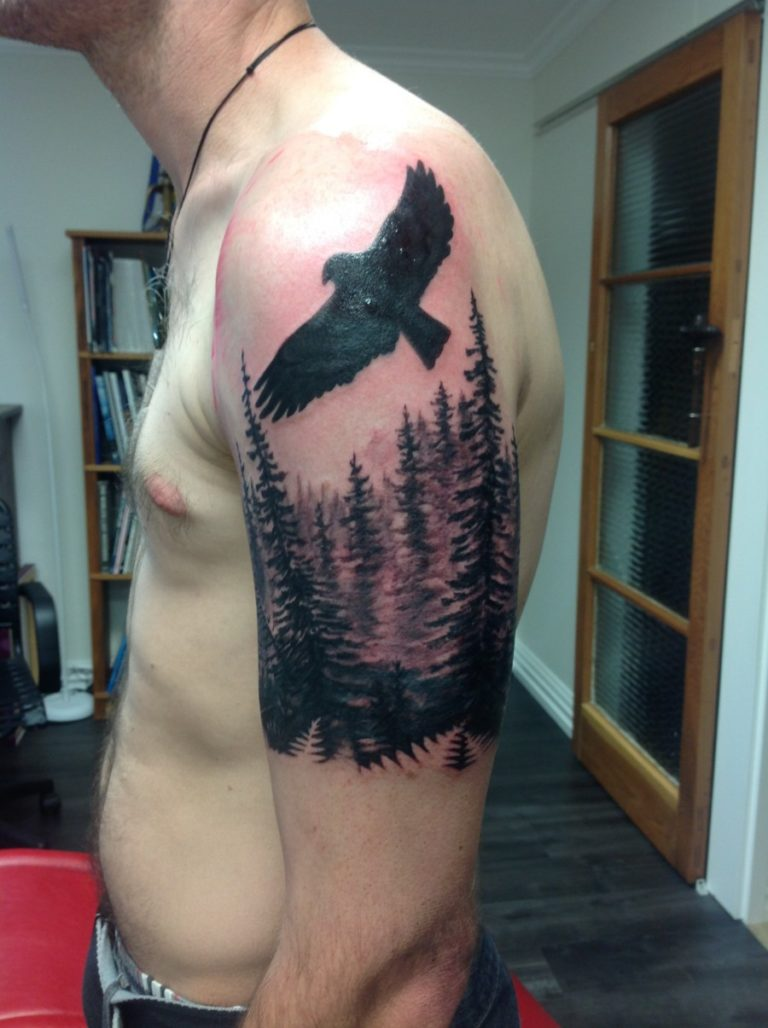 black and grey eagle tree forrest tattoo