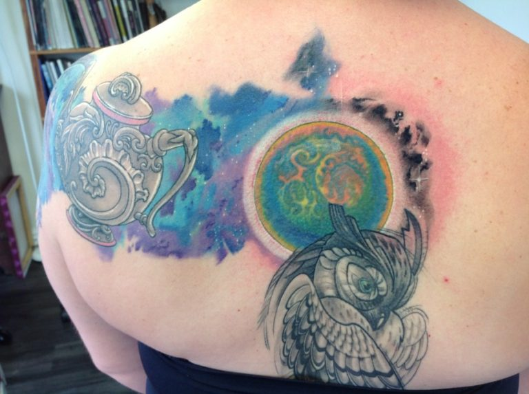 teapot galaxy back tattoo
